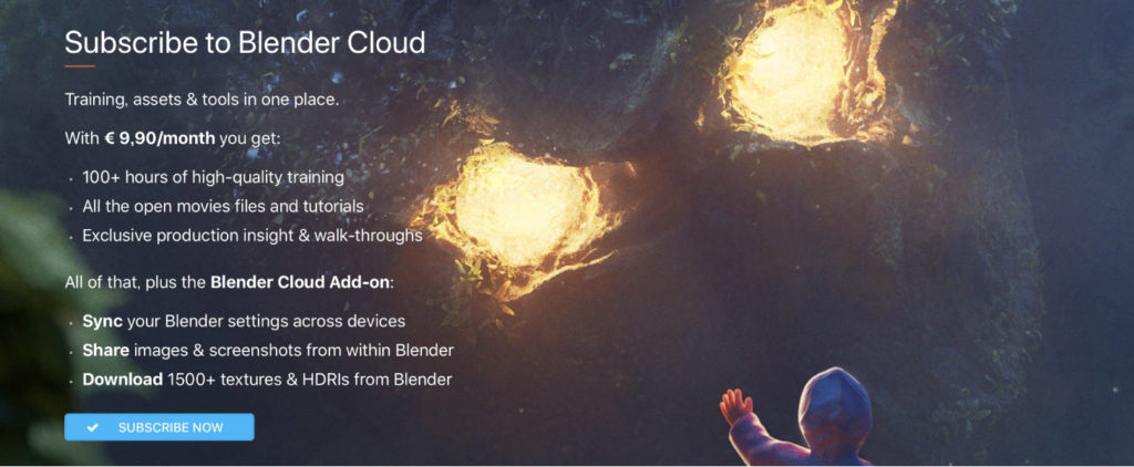 blender cloud申し込み画面のボタン位置の紹介